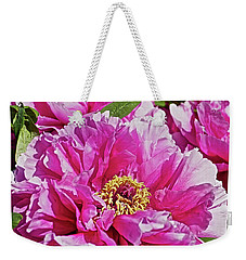 Weekender Tote Bag featuring the photograph Pink Peony by Joan Reese