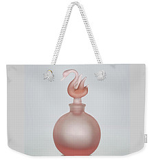 Weekender Tote Bag featuring the photograph Pink Perfume Bottle Vertical by David and Carol Kelly