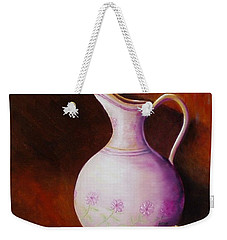 Weekender Tote Bag featuring the painting Pink Pitcher by Gene Gregory