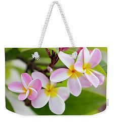 Pink Plumeria Weekender Tote Bag