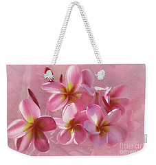 Weekender Tote Bag featuring the photograph Pink Plumeria Pastel By Kaye Menner by Kaye Menner