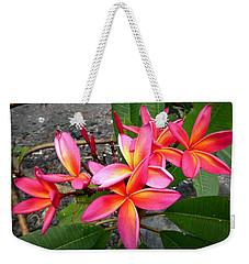 Pink Plumerias Weekender Tote Bag by Lori Seaman