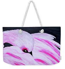 Weekender Tote Bag featuring the painting Pink Primping Flamingo by Sonya Nancy Capling-Bacle