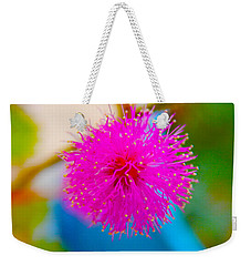 Pink Puff Flower Weekender Tote Bag by Samantha Thome