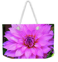 Weekender Tote Bag featuring the photograph Pink Purple Dahlia Flower by Kristen Fox
