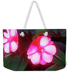 Weekender Tote Bag featuring the photograph Pink Red Glow by Roger Bester