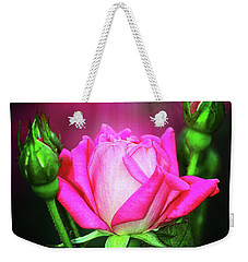 Pink Rose Weekender Tote Bag by Inspirational Photo Creations Audrey Woods
