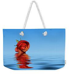 Pink Rose Hazey Blue Weekender Tote Bag by David French