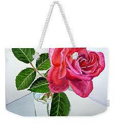 Pink Rose Weekender Tote Bag by Irina Sztukowski