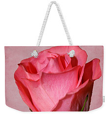 Weekender Tote Bag featuring the photograph Pink Rose by Judy Vincent