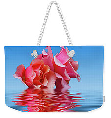 Pink Rose Sea Plale Blue Weekender Tote Bag by David French