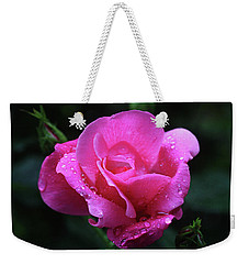 Weekender Tote Bag featuring the photograph Pink Rose With Raindrops by Trina Ansel