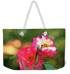 Pink Roses And Butterfly Photo Weekender Tote Bag by Luana K Perez