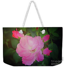 Pink Roses  Weekender Tote Bag by Inspirational Photo Creations Audrey Woods