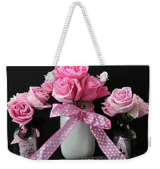 Weekender Tote Bag featuring the photograph Pink Roses French Decor - Pink And Black Parisian Wall Art - Pink Roses French Home Decor by Kathy Fornal