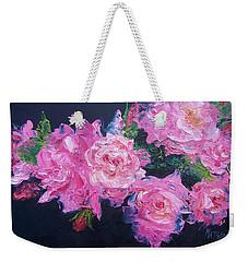 Pink Roses Oil Painting Weekender Tote Bag by Jan Matson