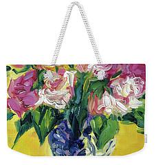 Pink Roses In Blue Deft Vase Weekender Tote Bag