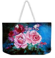 Pink Roses On Blue Weekender Tote Bag by Jenny Lee