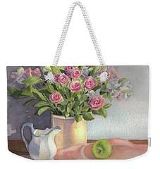Weekender Tote Bag featuring the painting Pink Roses by Vikki Bouffard