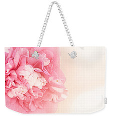 Weekender Tote Bag featuring the photograph Pink Ruffled Camellia by Cindy Garber Iverson