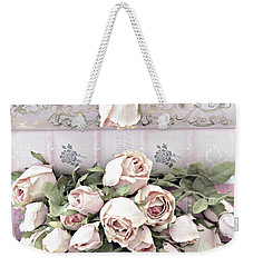 Weekender Tote Bag featuring the photograph Pink Shabby Chic Roses On Pink Cottage Books - Shabby Cottage Pink Roses Home Decor by Kathy Fornal
