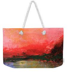 Pink Sky Over Water Abstract Weekender Tote Bag