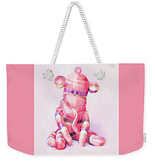 Pink Sock Monkey Weekender Tote Bag by Jane Schnetlage
