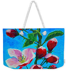 Weekender Tote Bag featuring the painting Pink Spring by Ana Maria Edulescu