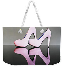 Weekender Tote Bag featuring the photograph Pink Stiletto Shoes by Terri Waters
