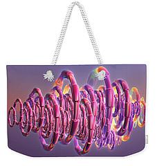 Weekender Tote Bag featuring the digital art Pink Swirls by Rosalie Scanlon