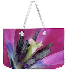Weekender Tote Bag featuring the photograph Pink Tulip Stamens by David and Carol Kelly