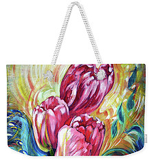 Pink Tulips And Butterflies Weekender Tote Bag