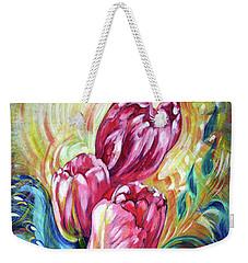 Pink Tulips And Butterflies Weekender Tote Bag