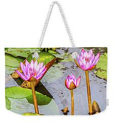 Pink Water Lilies In A Pond Weekender Tote Bag