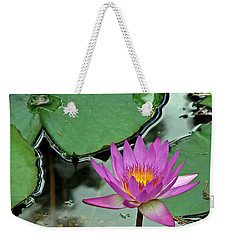 Weekender Tote Bag featuring the photograph Pink Water Lily by Judy Vincent