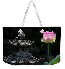 Pink Water Lily With Black Background Weekender Tote Bag
