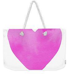 Weekender Tote Bag featuring the mixed media Pink Watercolor Heart- Art By Linda Woods by Linda Woods
