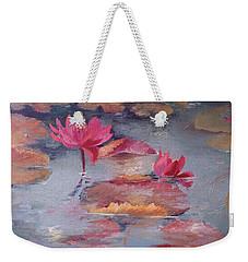 Pink Waterlilies Weekender Tote Bag by Vali Irina Ciobanu