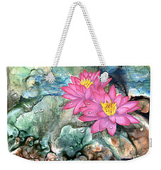 Weekender Tote Bag featuring the painting Pink Waterlily by Sherry Shipley