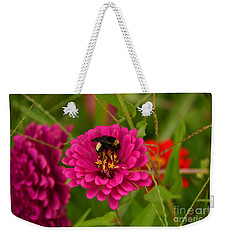 Pink Zinnia And Bee Weekender Tote Bag