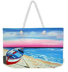 Pinkish Sunset And Boat Weekender Tote Bag