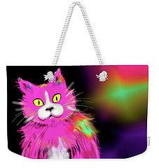 Weekender Tote Bag featuring the painting Pinky Dizzycat by DC Langer