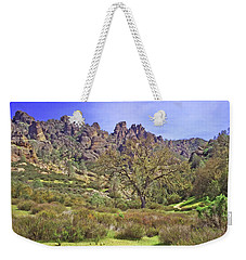 Weekender Tote Bag featuring the photograph Pinnacles National Park Watercolor by Art Block Collections