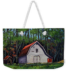 Weekender Tote Bag featuring the painting Pinson Barn At Harrison Park by Jan Dappen