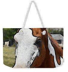 Weekender Tote Bag featuring the photograph Pinto In The Pasture Portrait  by Barbara Snyder