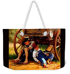 Weekender Tote Bag featuring the painting Pioneer Boys Napping On The Trail by Peter Gumaer Ogden