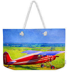 Piper Cub Airplane In Kansas Prairie Weekender Tote Bag