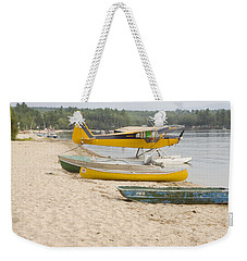 Piper Super Cub Floatplane Near Pond In Maine Canvas Poster Print Weekender Tote Bag