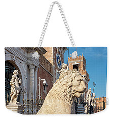 Weekender Tote Bag featuring the photograph Piraeus Lion by Fabrizio Troiani