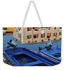Weekender Tote Bag featuring the photograph Piran Marina Reflections #3 by Stuart Litoff